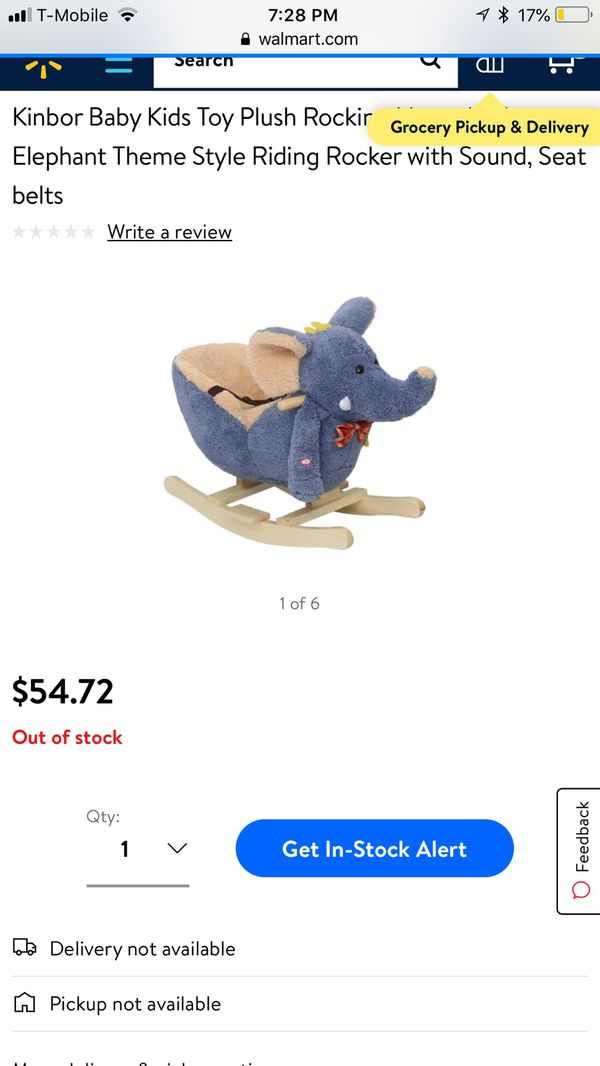 Kinbor Baby Kids Toy Plush Rocking Elephant