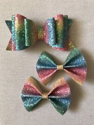 Rainbow glitter faux bow for Sale in Fullerton, CA