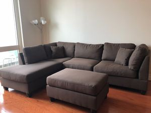 Brand New Brown Linen Sectional Sofa Couch + Ottoman for Sale in Silver Spring, MD