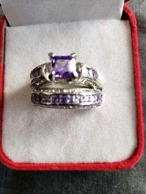 Set 925 sterling silver purple white &cz wedding set ring size 9 for Sale in Moreno Valley, CA
