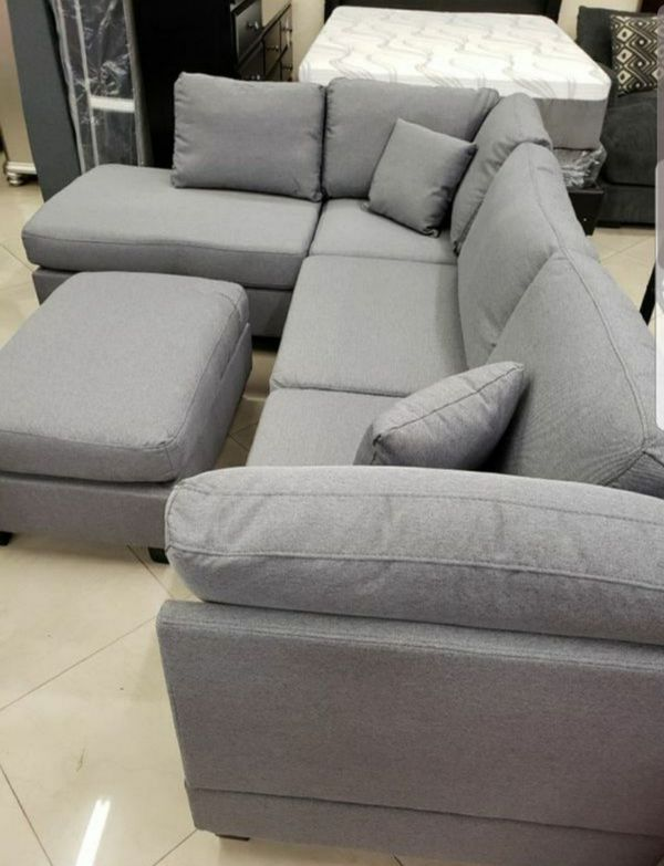 Brand New Grey Linen Sectional Sofa Couch + Ottoman
