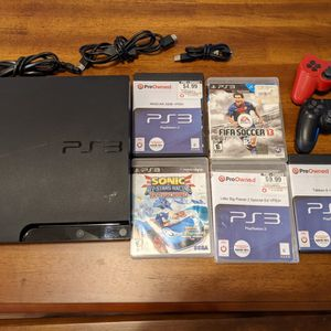 PS3 with Games and 2 Controllers for Sale in Apache Junction, AZ
