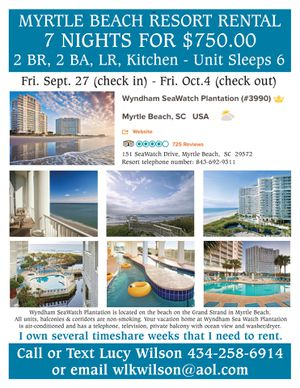 7 Nights in a 2BR, LR, Full Kitchen Unit with Ocean View in Myrtle Beach for Sale in Lynchburg, VA