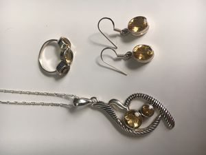 Citrine necklace, ring and earrings for Sale in Carol Stream, IL