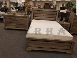 LIGHT OR DARK SET 4PC TWIN FULL OR QUEEN BED DRESSER MIRROR AND NIGHTSTAND/NO MATTRESS INCLUDED for Sale in Anaheim, CA