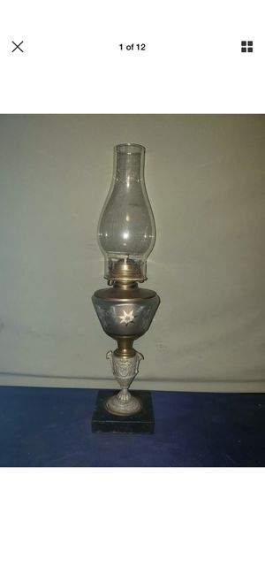 Antique Figural Trophy Style Kerosene Lamp w/ Etched Frosted Glass Tank for Sale in Milford Charter Township, MI