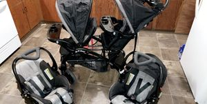 Double stroller/2 car seats/4 bases for Sale in Dunn, NC