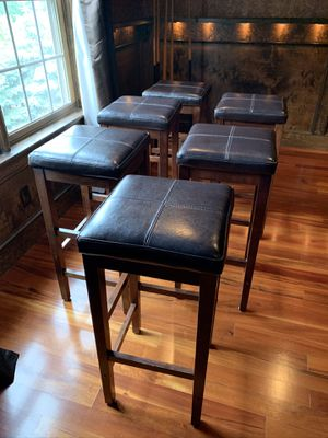 Stools with leather seats and wooden legs for Sale in Medfield, MA