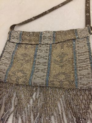 Antique Victorian Silk lined Made in France purse with micro glass and silver beads for Sale in Richmond, VA