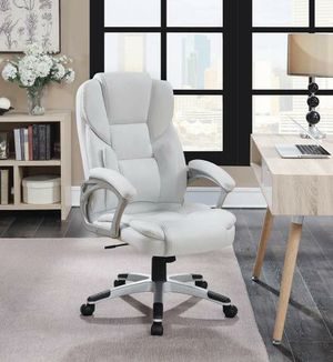 White Leatherette Office Chair #801140 for Sale in Dallas, TX
