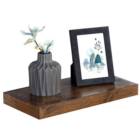 VASAGLE Wall Shelf, Vintage Floating Shelf 15.7 inch, Hanging Shelves Wall Mounted, for Photos, Decorations, Rustic Brown