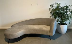 Curved Velvet Grey Couch for Sale in La Quinta, CA