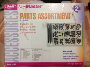 92-Piece Black Lawn Sprinklers Case Organizer Drip Irrigation Parts Assortment, new sealed for Sale in La Vergne, TN