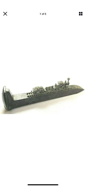 Miniature Pewter Train on Railroad Spike 6.5 Inches Long Detailed # 5843 for Sale in Irvine, CA