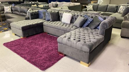Lauren Grey Double Chaise Oversized Huge Biggerthan market Sectional couch Velvet << No credit check 🔸️ >> Same day delivery for Sale in Houston,  TX
