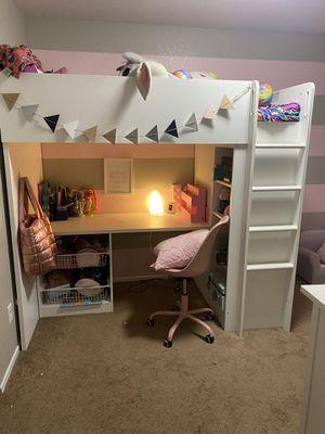 IKEA twin bunk bed with desk white for Sale in Oak Glen, CA
