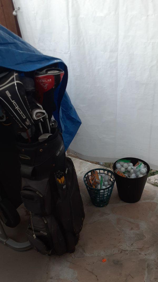 Golf club set and golf balls