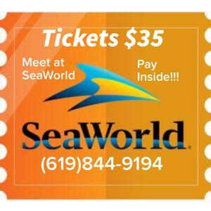 SeaWorld Tickets for sale $35 each - MEET AT SEAWORLD/ PAY INSIDE THE PARK! for Sale in San Diego, CA