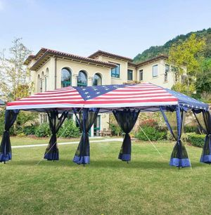 Outdoor 10x20ft Pop up Party Tent Gazebo Canopy Market Instant Shelter American Flag Shade Backyard for Sale in Toledo, OH