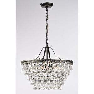 6 - Light Statement Tiered Chandelier with Crystal Accents for Sale in Los Angeles, CA