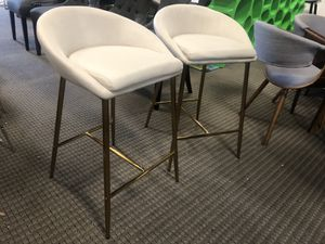 Set of 2 Cream Matisse counter bar stools with gold for Sale in Lincolnia, VA
