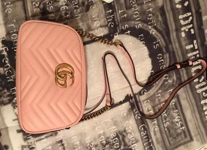 Gucci Light Pink Quilted Leather Marmont Metalasse Small Shoulder Bag for Sale in Bridgeport, CT