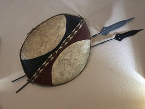 Authentic Antique African Shield and Spears for Sale in Corona, CA