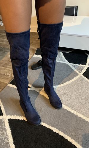 Navy Blue Thigh High Boots (ONLY WORN ONCE) Size : 7.5 for Sale in Baltimore, MD