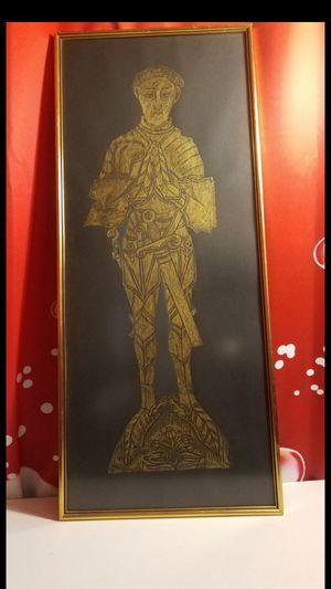 Incredible Edward The Black Prince Medieval Vintage Brass Rubbing 34' x 14 for Sale in Upland, CA