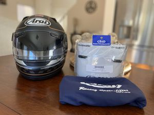Arai Signet Q Frost Black US Flag MotoGP Racing Motorcycle Helmet Size M w/2 Visors for Sale in Las Vegas, NV