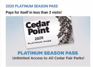 Cedar Point Platinum passes $190 each for Sale in Amherst, OH