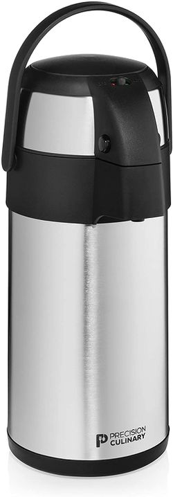 Airpot Coffee Dispenser with Pump/Stainless Steel Thermal Coffee Carafe - Three Liter (102 oz.) Hot Beverage Dispenser with On/Off Pump Switch - Vacuu for Sale in McCalla,  AL