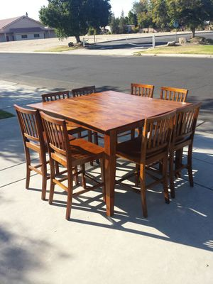 Wood Table, 8 Chairs, Extension Tall Wood Table 4, 6, or 8 People for Sale in Clovis, CA