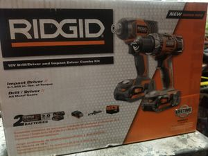 18v Ridgid Drill & Impact combo kit and 4 aviation snips for Sale in Fontana, CA