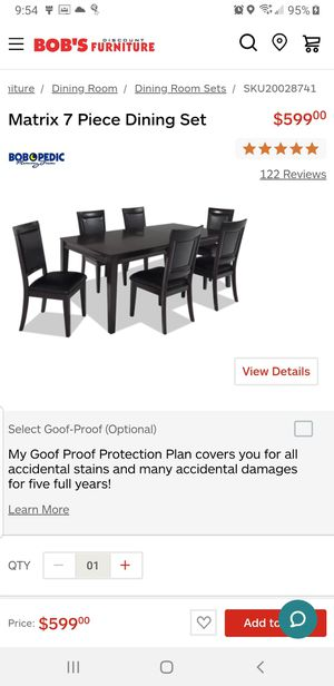 BOB'S FURNITURE DINNING TABLE SET for Sale in South Brunswick Township, NJ