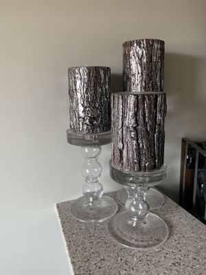 Pottery Barn Candles and Holders- Set of 3 for Sale in Pittsburgh, PA