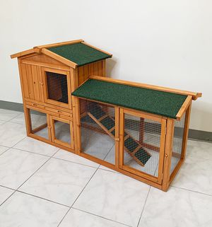 "New $110 Wood Rabbit Hutch Pet Cage w/ Run Asphalt Roof Bunny Small Animal House 55""x20""x34"" for Sale in South El Monte, CA"