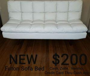 White Leatherette Futon Sofa Bed for Sale in Ontario, CA