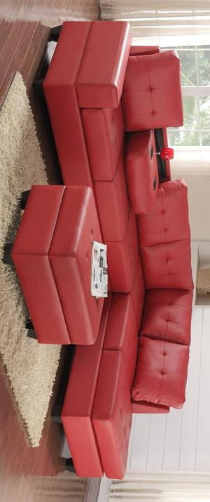 Heights red faux leather reversible sectional with storage ottoman for Sale in Houston, TX