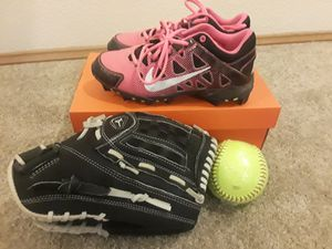 Cleats, glove and softball for Sale in University Place, WA