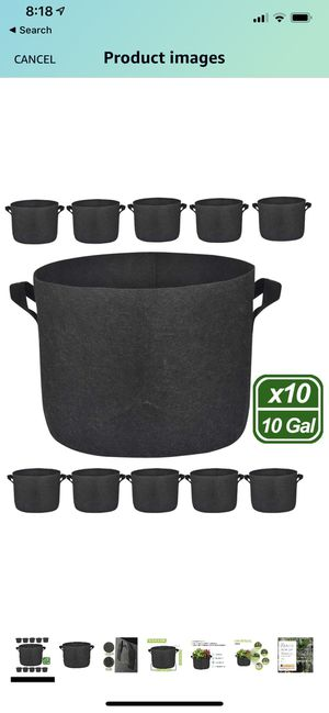 10 Pack 10 Gallon Premium Grow Bags, Heavy Duty Nonwoven Fabric Plants Pots with Handles, Indoor & Outdoor Grow Containers for Vegetables and Fruits for Sale in Irving, TX