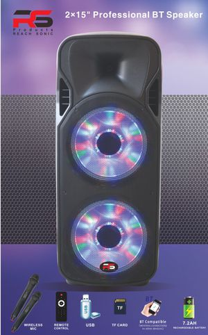 2x15 inch / speakar / 3800 W / Bluetooth / rodeo /USB / FT / 2 wireless microphone / Remote /Recorder / color full boll lighting /chargeable/ 🔋LEAD A for Sale in Los Angeles, CA