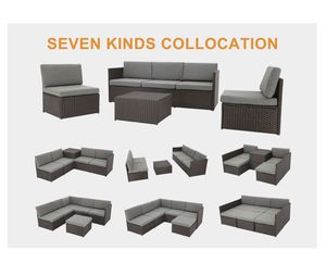 Full furniture set for outdoor or indoor. Patio garden wicker chocolate with grey cushions K16CH for Sale in San Bernardino, CA