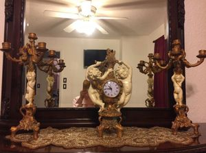5 piece cherub and gold leaf clock, candelabras and pictures for Sale in Odessa, FL