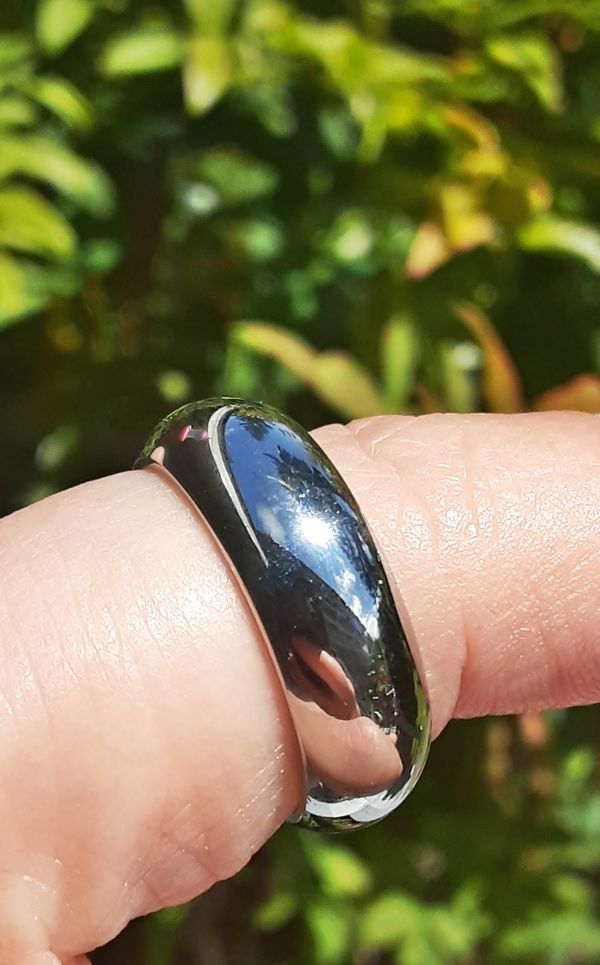 Stainless Steel Domed Wedding Band Ring Size 9