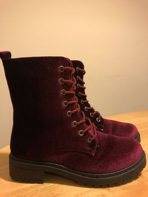 Worn Once: Wanted Brand Women's Red Burgundy Patrol Lace-up Combat Boots - Size 7 for Sale in College Park, MD