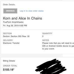 Two korn tickets for Sale in Ontario, CA