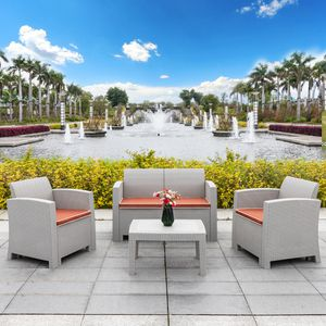 Premium 4PCS Outdoor Patio Garden Furniture Chat Conversation Sofa Set (Purchase via PayPal Invoice with Free Shipping) for Sale in Philadelphia, PA