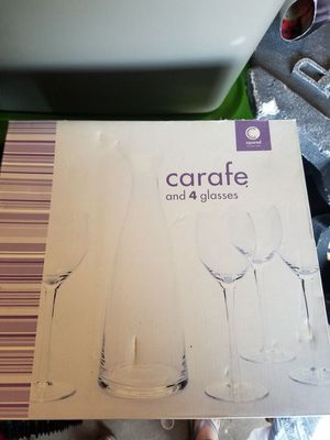 Carafe and 4 glass set for Sale in Galloway, OH