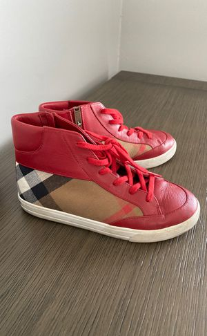 Authentic Burberry leather red high tops size 34 for Sale in Phoenix, AZ